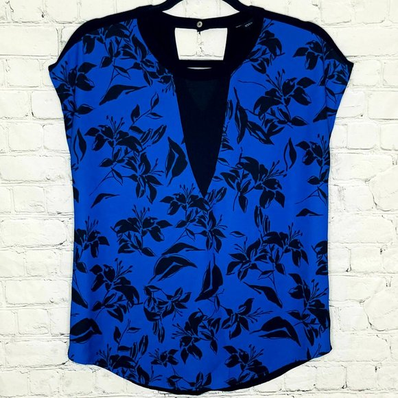 RW&co black and blue floral top with mesh panel